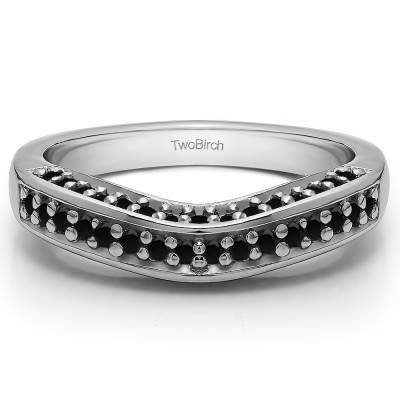 0.35 Ct. Black Three Sided Contour Band