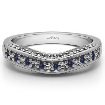 0.35 Ct. Sapphire and Diamond Three Sided Contour Band
