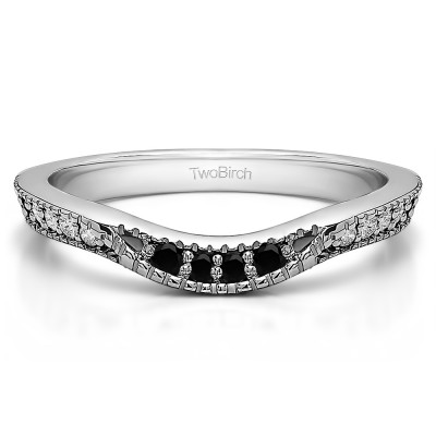 0.31 Ct. Black and White Knife Edge Vintage Curved Wedding Ring