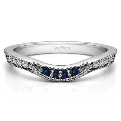 0.31 Ct. Sapphire and Diamond Knife Edge Vintage Curved Wedding Ring