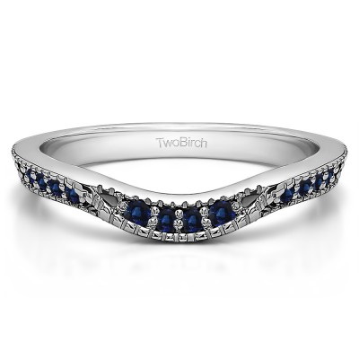 0.31 Ct. Sapphire Knife Edge Vintage Curved Wedding Ring