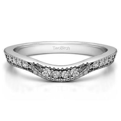 0.31 Ct. Knife Edge Vintage Curved Wedding Ring