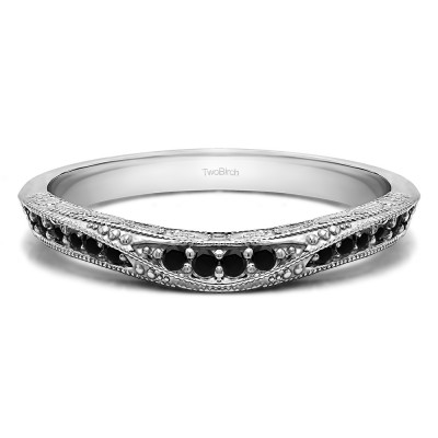 0.18 Ct. Black Knife Edged Vintage Filigree Curved Wedding Band With Black Diamonds Mounted in Sterling Silver.(Size 8)
