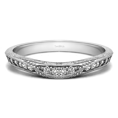 0.18 Ct. Knife Edged Vintage Filigree Curved Wedding Band