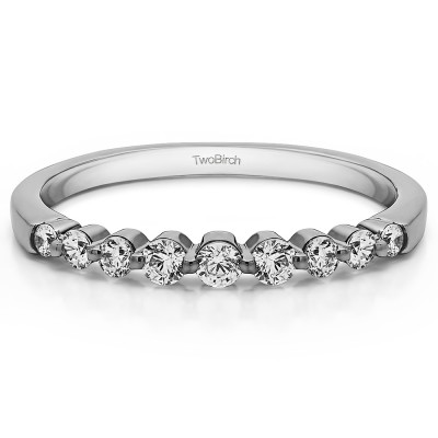 0.33 Carat Thin Shared Prong Wedding Band