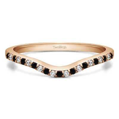 0.16 Ct. Black and White Twenty-One Stone Dainty Contour Wedding Band in Rose Gold