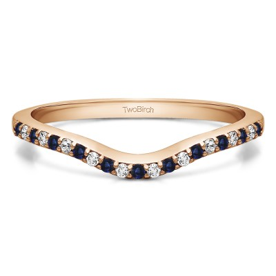 0.16 Ct. Sapphire and Diamond Twenty-One Stone Dainty Contour Wedding Band in Rose Gold