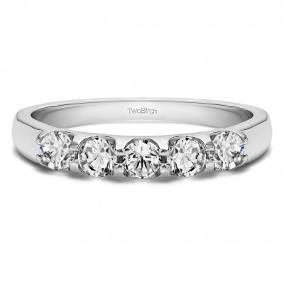 0.65 Carat Classic Double Shared Prong Wedding Band With Cubic Zirconia Mounted in Sterling Silver (Size 7)