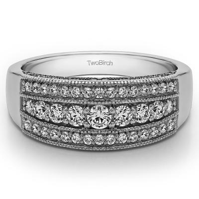 0.71 Carat Three Row Vintage Millgrain Wedding Ring