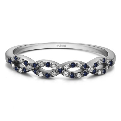 0.15 Carat Sapphire and Diamond Pave Set Infinity Wedding Ring