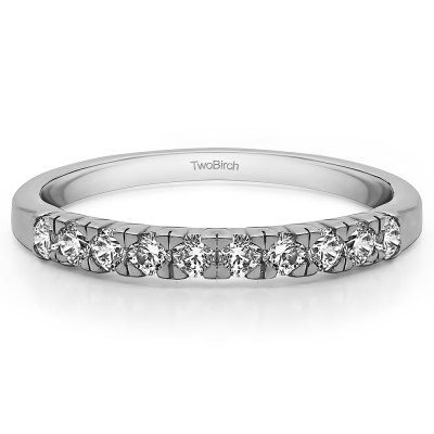 0.3 Carat Ten Stone French Cut Pave Set Wedding Ring