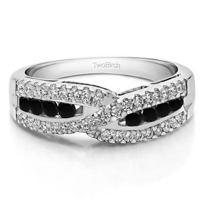 0.61 Carat Black and White Cross Over U Prong Set Wedding Ring