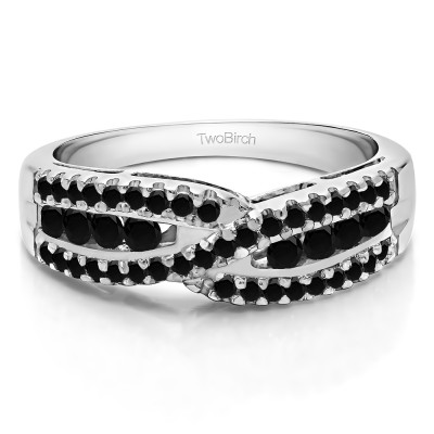 0.61 Carat Black Cross Over U Prong Set Wedding Ring