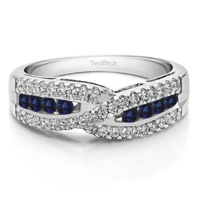 0.61 Carat Sapphire and Diamond Cross Over U Prong Set Wedding Ring