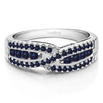 0.61 Carat Sapphire Cross Over U Prong Set Wedding Ring