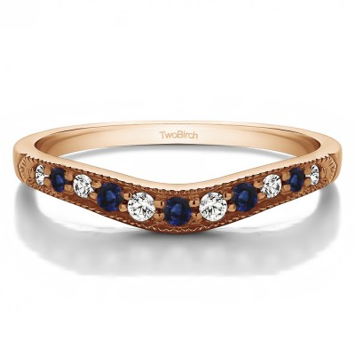 0.2 Ct. Sapphire and Diamond Millgrained Edge Shared Prong Shadow Band in Rose Gold