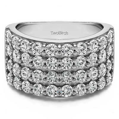 2 Carat Wide 4 Row Double Shared Prong Wedding Ring