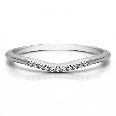 0.06 Ct. Thin Eleven Stone Shared Prong Curved Ring With Cubic Zirconia Mounted in Sterling Silver (Size 7)