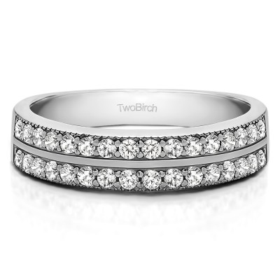 0.48 Carat Double Row Channel Fishtail Set Wedding Band