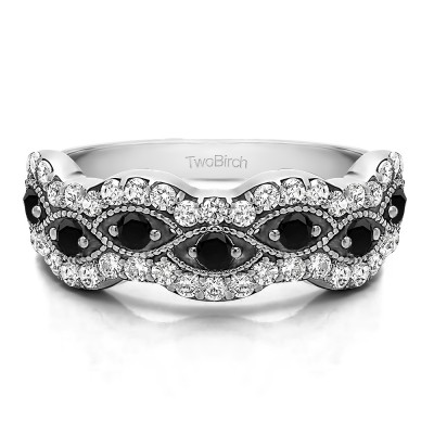 0.88 Carat Black and White Pave Set Millgrained Infinity Wedding Ring