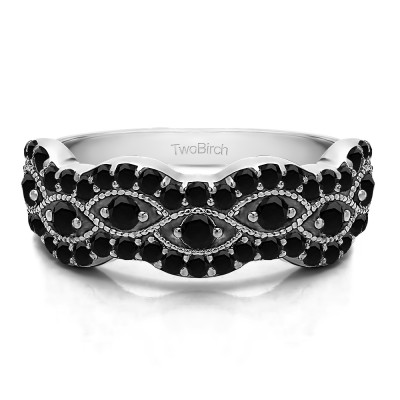 0.88 Carat Black Pave Set Millgrained Infinity Wedding Ring