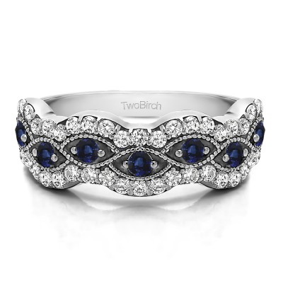 0.88 Carat Sapphire and Diamond Pave Set Millgrained Infinity Wedding Ring