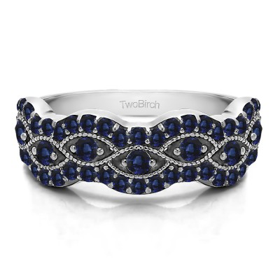 0.88 Carat Sapphire Pave Set Millgrained Infinity Wedding Ring