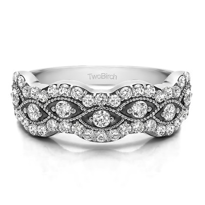 0.88 Carat Pave Set Millgrained Infinity Wedding Ring