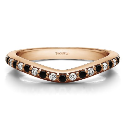 0.25 Ct. Black and White Nineteen Round Stone Double Shared Prong Contour Ring in Rose Gold