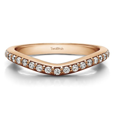0.25 Ct. Nineteen Round Stone Double Shared Prong Contour Ring in Rose Gold