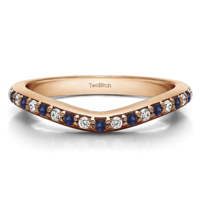 0.25 Ct. Sapphire and Diamond Nineteen Round Stone Double Shared Prong Contour Ring in Rose Gold