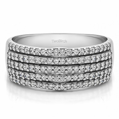 0.5 Carat Multi Row Shared Prong Wedding Ring