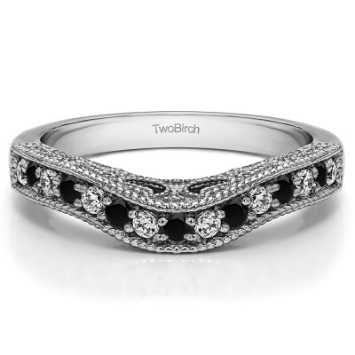 0.3 Ct. Black and White Vintage Millgrained and Filigree Contour Wedding Ring