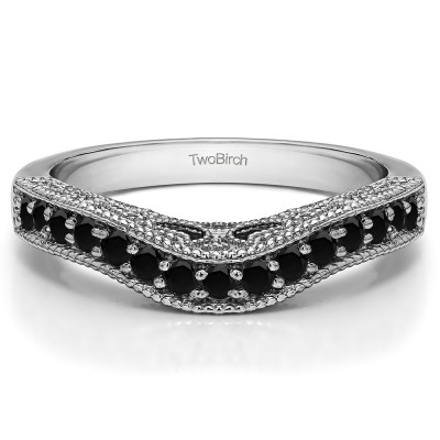 0.3 Ct. Black Vintage Millgrained and Filigree Contour Wedding Ring
