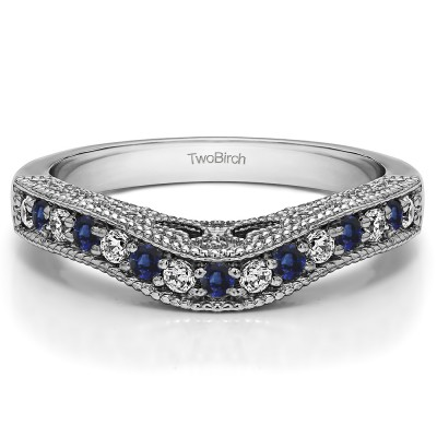 0.3 Ct. Sapphire and Diamond Vintage Millgrained and Filigree Contour Wedding Ring