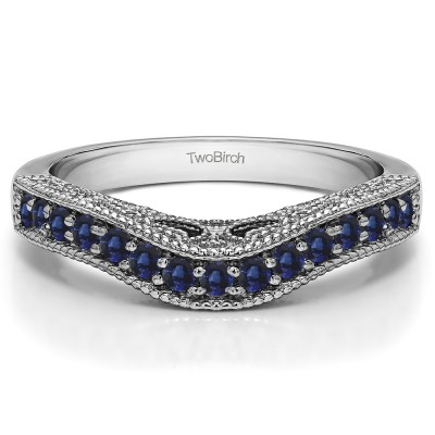 0.3 Ct. Sapphire Vintage Millgrained and Filigree Contour Wedding Ring