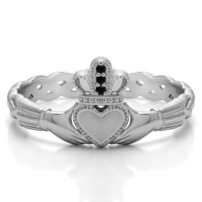0.02 Carat Black Celtic Claddagh Wedding Ring