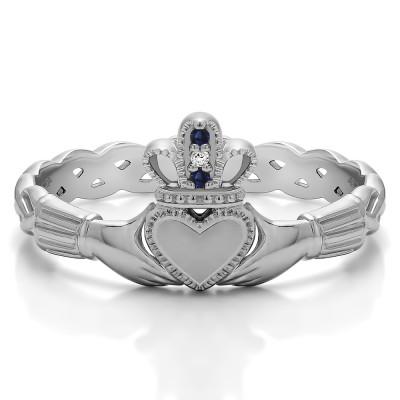 0.02 Carat Sapphire and Diamond Celtic Claddagh Wedding Ring