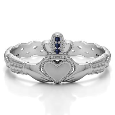 0.02 Carat Sapphire Celtic Claddagh Wedding Ring