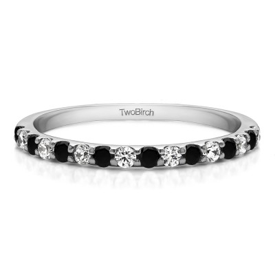 0.48 Carat Black and White Double Shared Prong Wedding Band