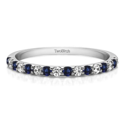 0.48 Carat Sapphire and Diamond Double Shared Prong Wedding Band