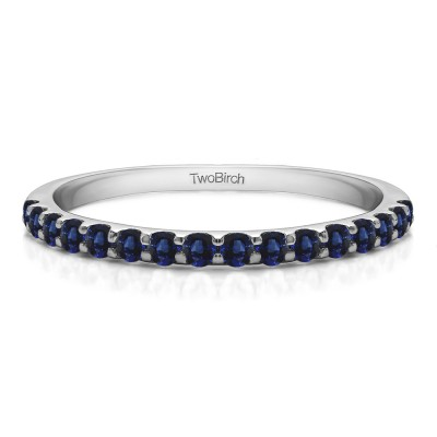 0.48 Carat Sapphire Double Shared Prong Wedding Band