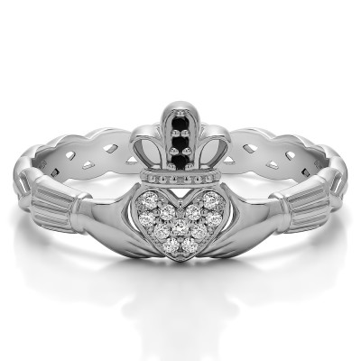 0.07 Carat Black and White Celtic Claddagh Wedding Ring with Pave Heart