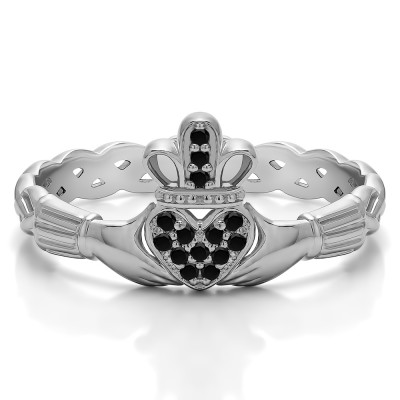 0.07 Carat Black Celtic Claddagh Wedding Ring with Pave Heart