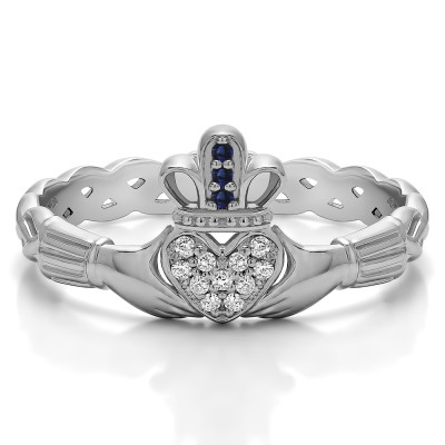 0.07 Carat Sapphire and Diamond Celtic Claddagh Wedding Ring with Pave Heart