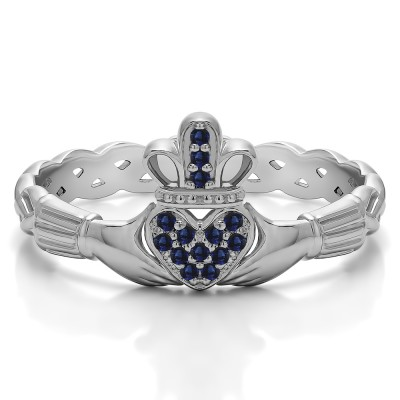 0.07 Carat Sapphire Celtic Claddagh Wedding Ring with Pave Heart