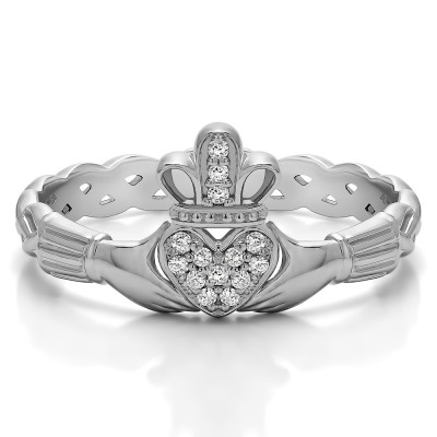 0.07 Carat Celtic Claddagh Wedding Ring with Pave Heart