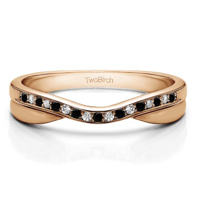 0.11 Ct. Black and White Metal Accented Curved Band in Rose Gold