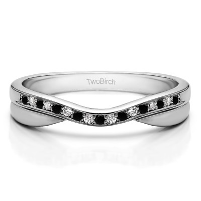 0.11 Ct. Black and White Metal Accented Curved Band