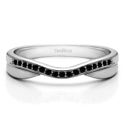0.11 Ct. Black Metal Accented Curved Band